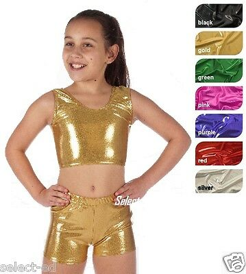 Kids Girl Metallic Hot Wet Look Shiny Sexy Crop Top Or Shorts --Quality Fabric