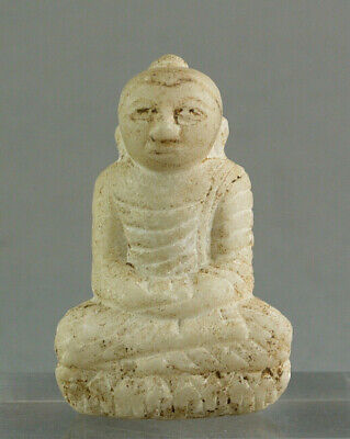 Small Burmese BUDDHA figurine handcarved Alabaster Marble  antique Myanmar 19th