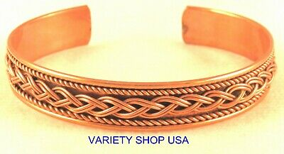Pure Copper Adjustable Braided Therapy Designer Cuff Bracelet 6061