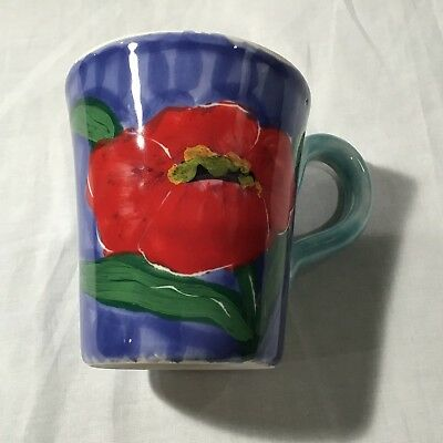 Vietri Coffee mug blue red poppy floral painted made in italy pottery