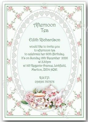 Personalised Afternoon Tea Birthday Party Floral Invitations X10 B6