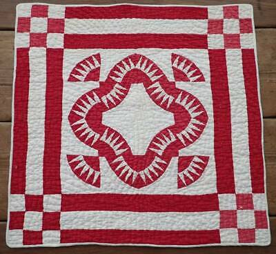 Simply Stunning Antique Red & White Farmhouse Table or Doll QUILT 24x24
