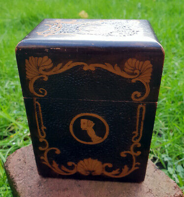 Beautiful Vintage Inlaid Wooden Playing Card Box Holds 2 Packs