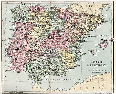 Antique Map Of Spain And Portugal