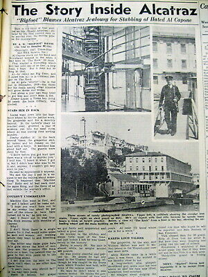 4 1937 newspapers w Long detailed essay ALCATRAZ PRISON & its INMATES Capone +++