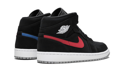 Nike Air Jordan Retro 1 Mid BLACK NUBUCK RED BLUE SWOOSH MULTI 554724-065  10.5 da85787e6