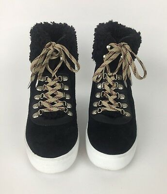 be237268e101 Sam Edelman Black Luther High Top Sneaker Womens 10 Faux Shearling Suede New
