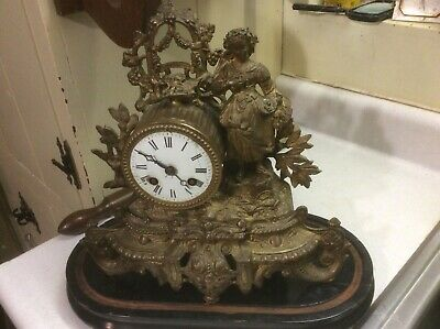 """1860""""s Japy Freres Running Antique French Victorian Mantel Clock, Gilded"""