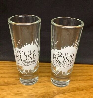 "(DD) 2 Tequila Rose Strawberry Cream Collectible Shot Glass 2oz 4 1/4"" Tall"