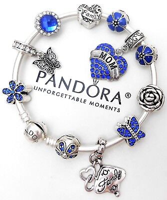 Authentic Pandora Silver Charm Bracelet With Blue Mom Heart European Charms.