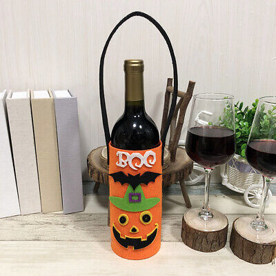 Halloween Non-Woven Wine Bottle Bag Candy Bag with Handle Halloween Party N3K9