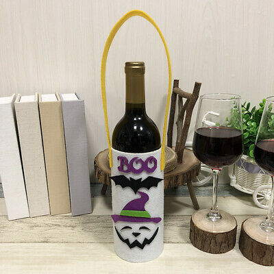 Halloween Non-Woven Wine Bottle Bag Candy Bag with Handle Halloween Party N3Q8