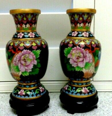 Vintage Pair Of Cloissonne Decorative Vases With Original Wood Stands