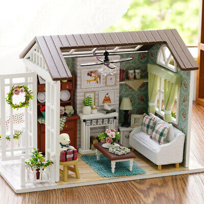 DIY Miniature Dollhouse Kit Mini 3D Wooden House with Furniture LED Lights Xmas