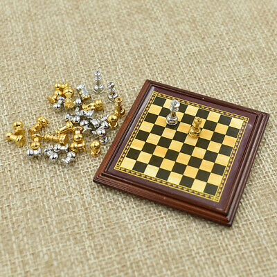 Vintage Chess Responsible Fine Vtg Dollhouse Miniature Chess Set Carved Ebony Ivry Chessmen Board Artisan Strong Packing Dollhouse Miniatures