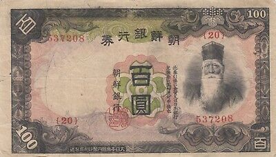 Korea Bank of Chosen Japanese occupation 100 yen (1938) B416 P-32