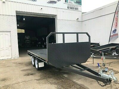 10X7 Tandem Axle Basic Flat Top Flatbed Table Top Trailer Headboard