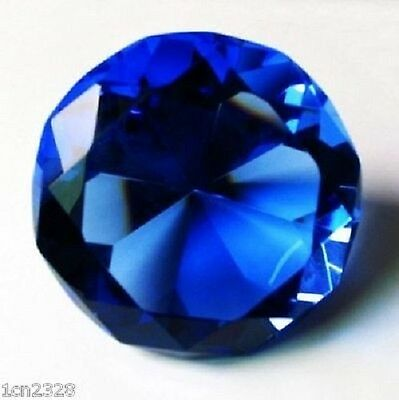 New 30mm Blue Crystal Diamond Shape Paperweight Gem Display Gift Ornament AH