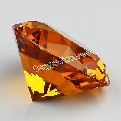 30mm Amber Crystal Diamond Shape Paperweight Gem Display Ornament SG