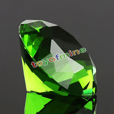 30mm Green Crystal Diamond Shape Paperweight Gem Display Ornament SG