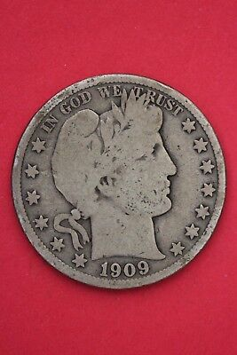 1909 P Barber Liberty Half Dollar Exact Coin Pictured Flat Rate Shipping OCE 019