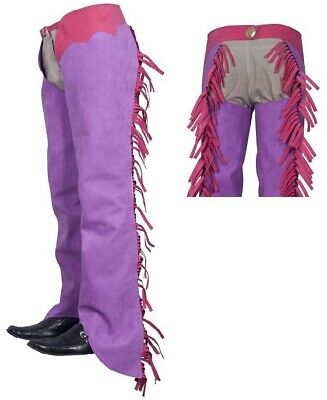 Borraq Washable Purple Shotgun Western Amara Suede Long Chaps with Pink Fringing