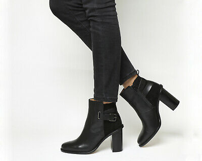 WOMENS OFFICE BLACK Leather Zip Ankle Boots Size UK 8  Ex-Display ... 4d1bfa171287