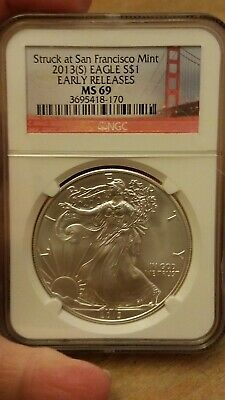 2013 S 1OZ Silver Eagle NGC MS 69 Early Releases
