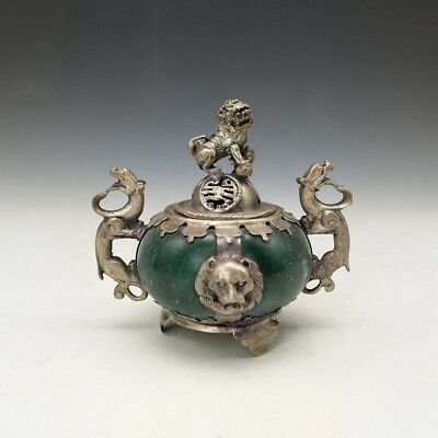 Tibet silver incense burner of Chinese jade Pure hand carved lions of lid