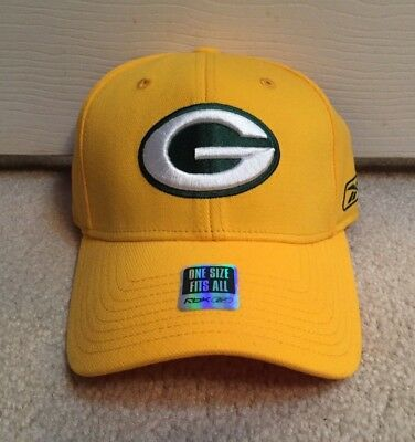 fee563dcc87 Green Bay Packers Reebok Flex Fit Fitted Hat Nfl Sideline Coaches Cap  Yellow Nwt