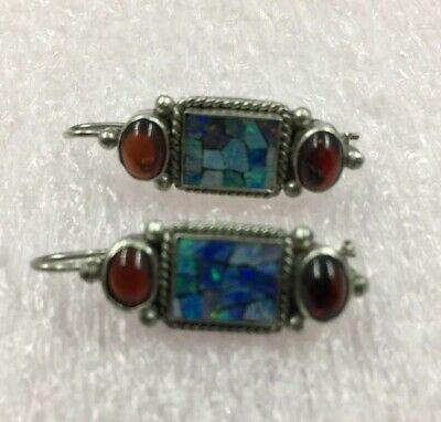 Vtg.1960s Sterling Silver Opal Mosaic Earrings Excellent Super Clean