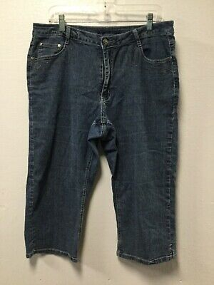 4b70e44d18921 Womens Capri Jeans Size 16 Blue Decorative Back Pockets Stitching Cos Jeans  178