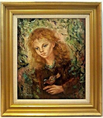 1960's ANNA de BANGUY LISTED FRENCH Artist Signed 'GIRL w/ BIRD' ORIGINAL O/B