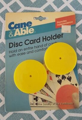 Cane & Able New in Package Bicycle Yellow Disc Card Holder Playing Card Holders