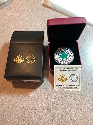 2014 $20 Silver Coin - Maple Leaf Impression -Royal Canadian Mint - with COA