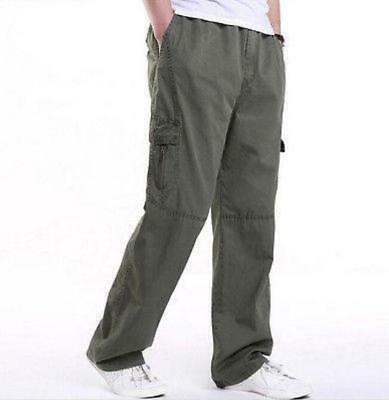 Casual Mens Solid Pockets Long Pants Work Cargo  Cotton Blend Trousers Plus Size