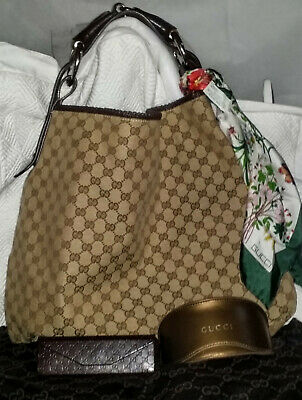 17fd16a794c4 GUCCI GG Monogram Canvas CHAIN HORSEBIT HOBO BAG GM/XL plus GUCCI EXTRAS  Vintage