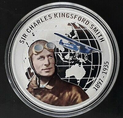 2010 Tuvalu Sir Charles Kingsford Smith 1oz Silver (.999)  $1 Proof coin