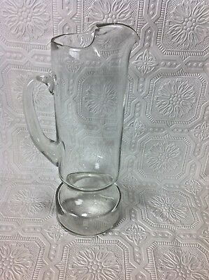 Tall Crystal Glass Martini Pitcher Vase Crystal Footed Base Spout Water Juice