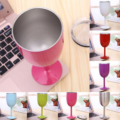 Stainless Steel Insulated Drinking Mug Red Wine Glass Champagne Goblet Cup W/Lid