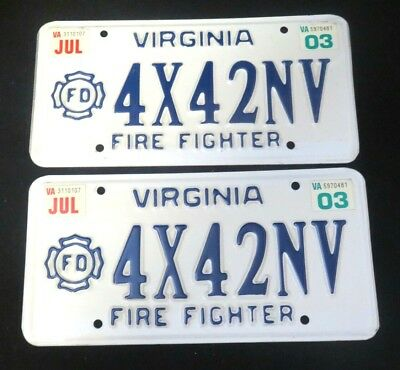 Personalized Matching Pair VIRGINIA FIRE FIGHTER License Plate VA Tags - 4X42NV