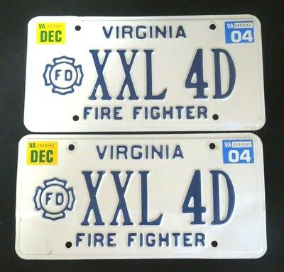 Personalized Matching Pair VIRGINIA FIRE FIGHTER License Plate VA Tags - XXL 4D