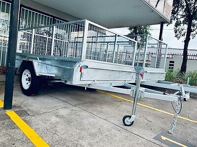 New 8x5 Full Welded Galvanised Box Trailer with 600mm Cage Sydney Stock