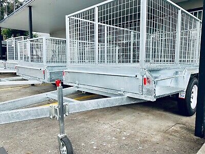 New 8x5 Full Welded Galvanised Box Trailer with 900mm Cage Sydney Stock
