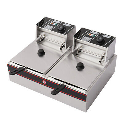 2x6L Stainless Steel Commercial Twin Double Tank Electric Deep Fat Fryer Chip UK