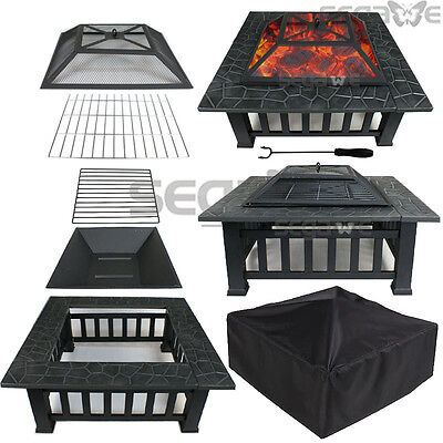 "USED 32"" Square Fire Pit Outdoor Metal Heater Deck Backyard Fireplace w/Cover"