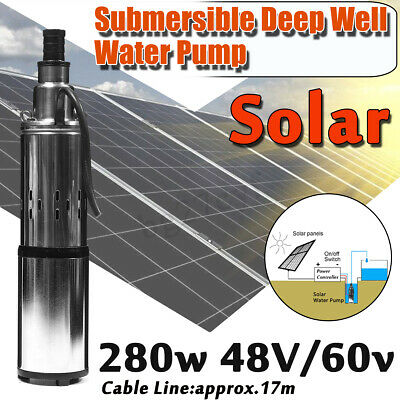 280W 48V/60V Stainless Submersible Solar Water Pump Deep Well Cable Garden 40m