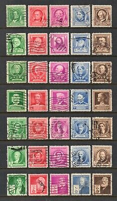 1940 Famous Americans Series, Used, 35 Different, Complete Set