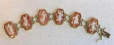 "Vintage Shell Cameo Bracelet Six Nymphs or Muses 18K Yellow Gold 6.25"" Wrist"