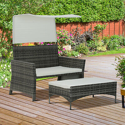 Outsunny Rattan Sofa Loveseat Sun Bed Canopy Footrest Padded Bench Wicker Grey